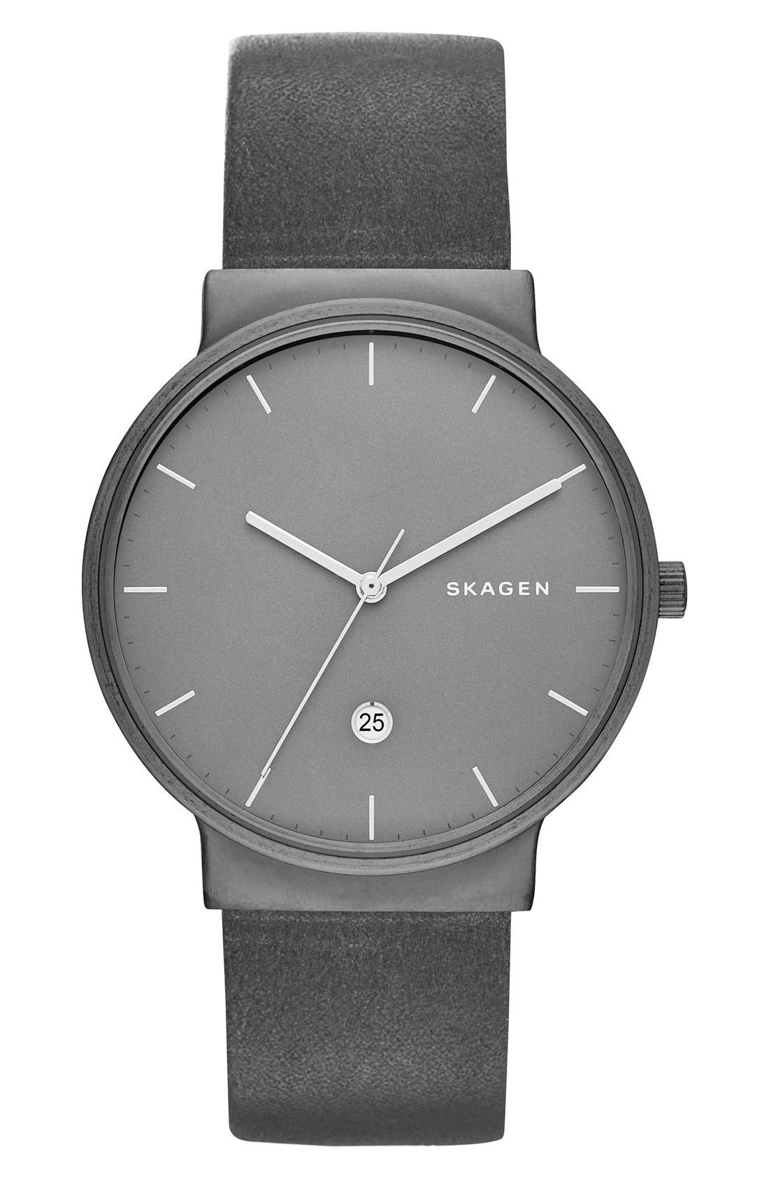 Ancher Round Leather Strap Watch, 40mm,                         Main,                         color, Gunmetal