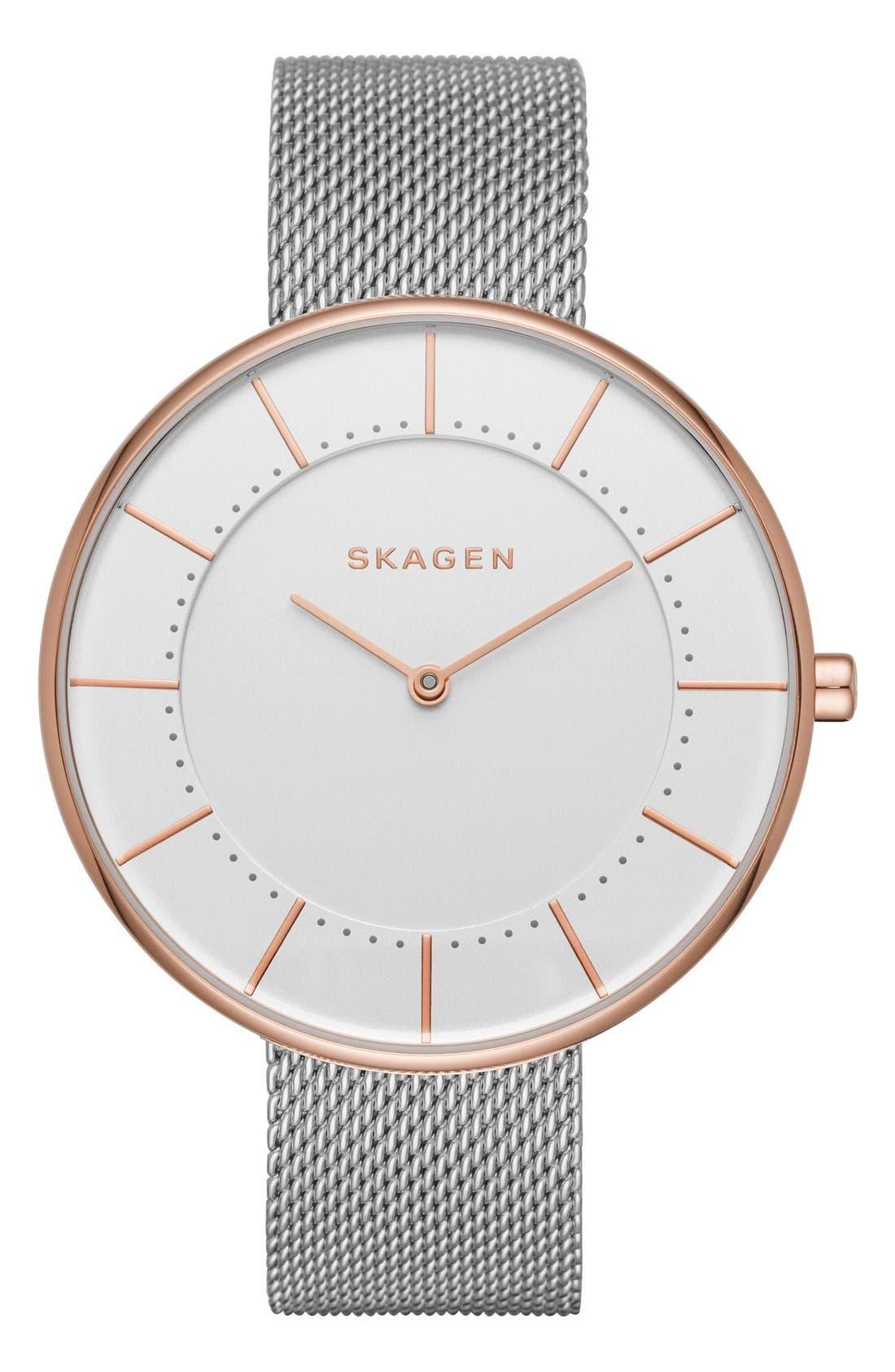 Alternate Image 1 Selected - Skagen Gitte Round Mesh Strap Watch, 38mm