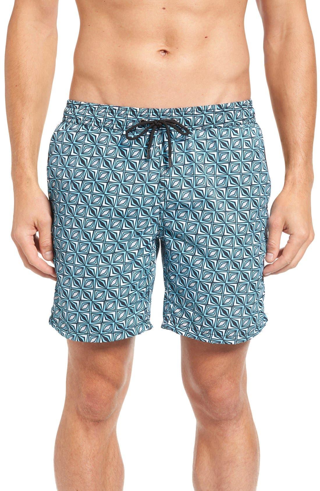 Print Swim Trunks,                         Main,                         color, Turquoise