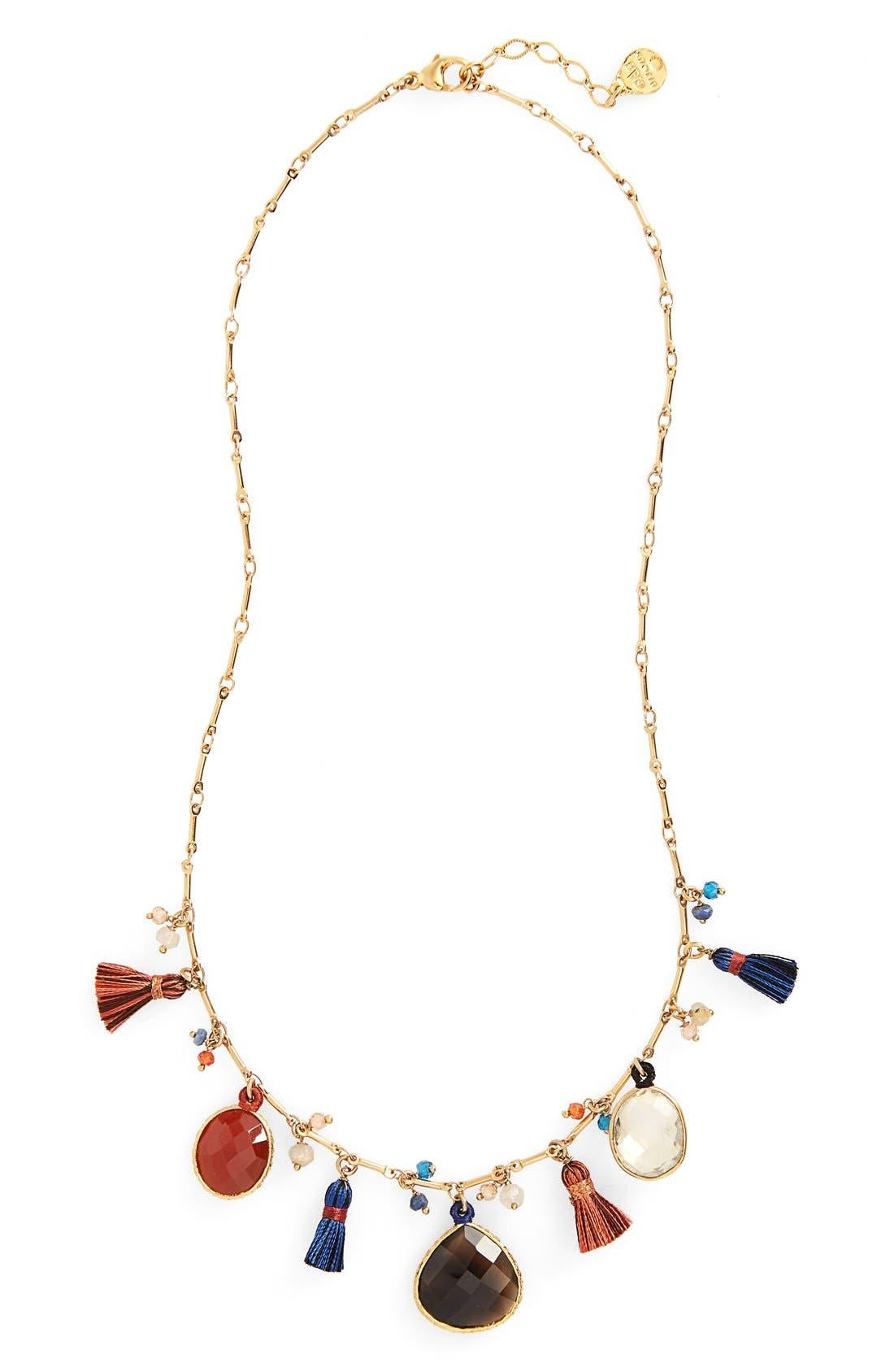 Serti Collar Necklace,                         Main,                         color, Red