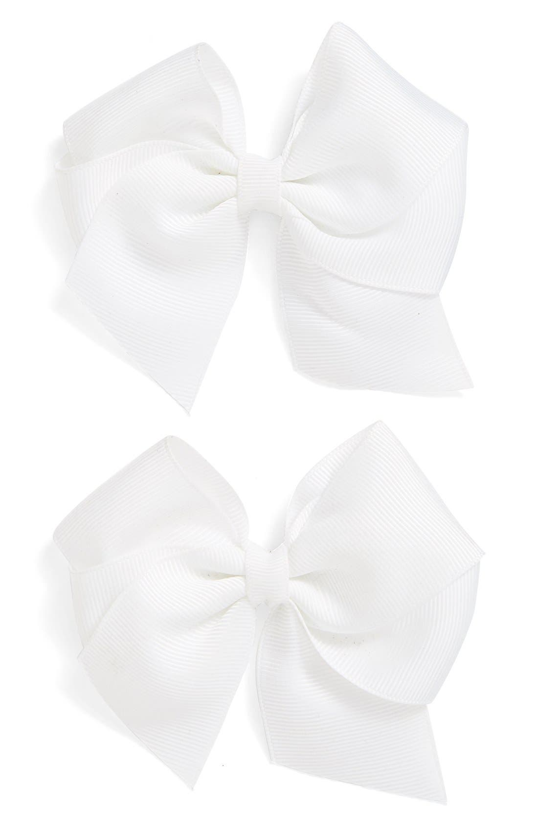 Alternate Image 1 Selected - PLH Bows & Laces Bow Clips (Set of 2) (Baby Girls)