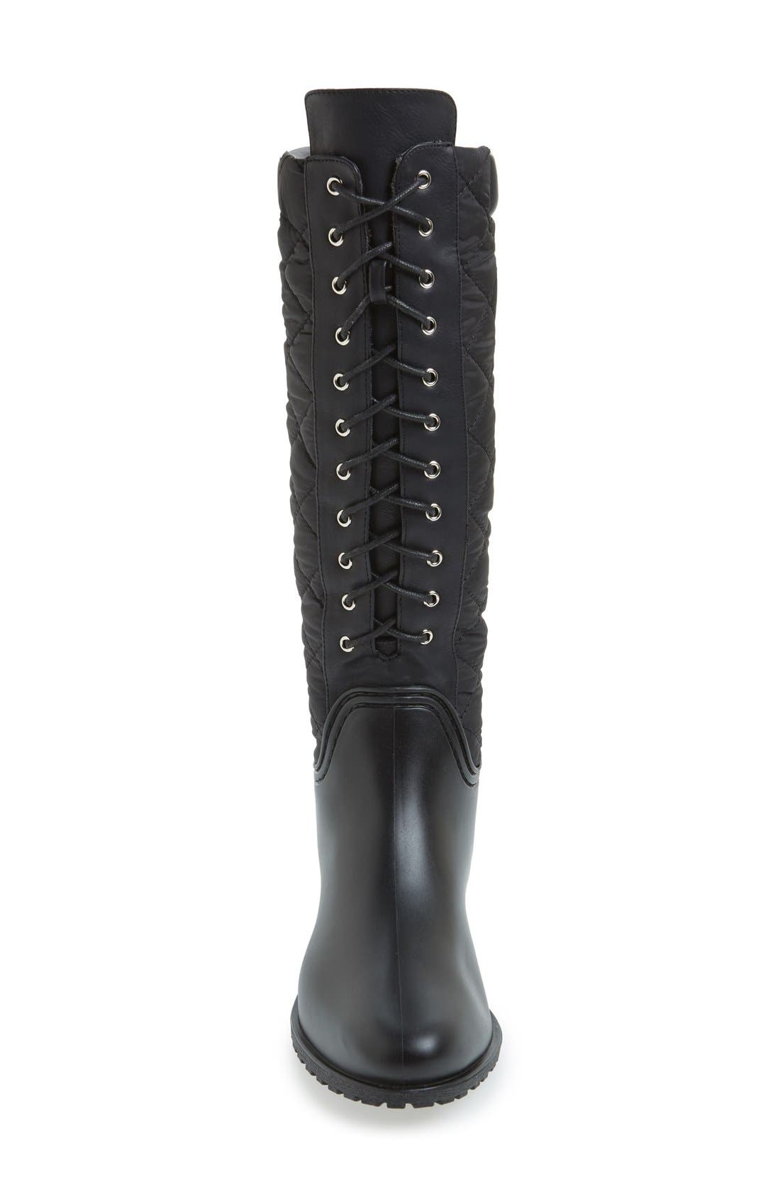 'Tofino' Quilted Tall Waterproof Rain Boot,                             Alternate thumbnail 3, color,                             Black