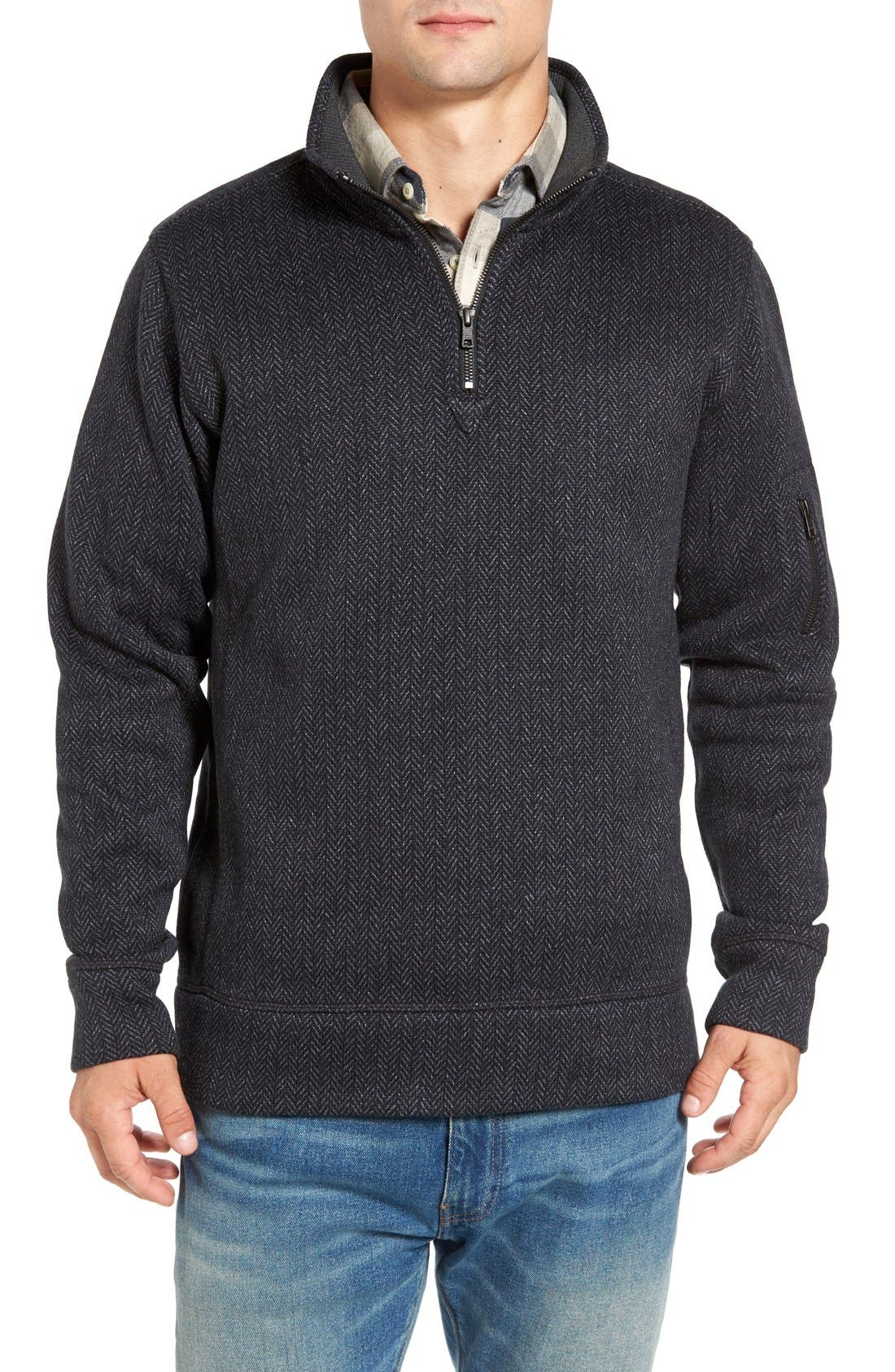 Jeremiah Lance Herringbone Zip Mock Neck Sweater