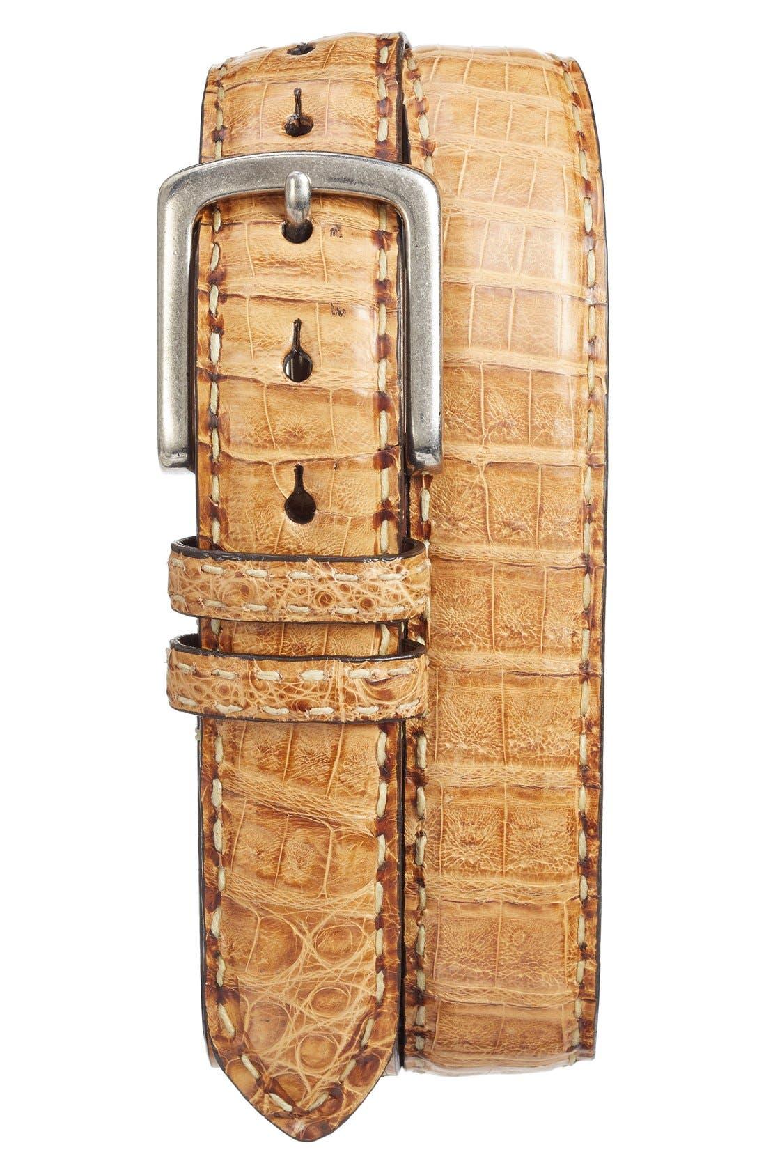 Caiman Leather Belt,                         Main,                         color, Cognac