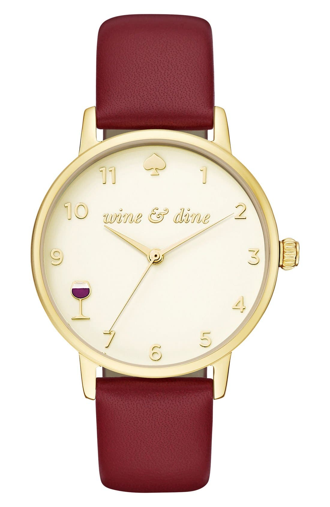 kate spade metro wine and dine leather strap watch, 34mm,                             Main thumbnail 1, color,                             Red/ Cream