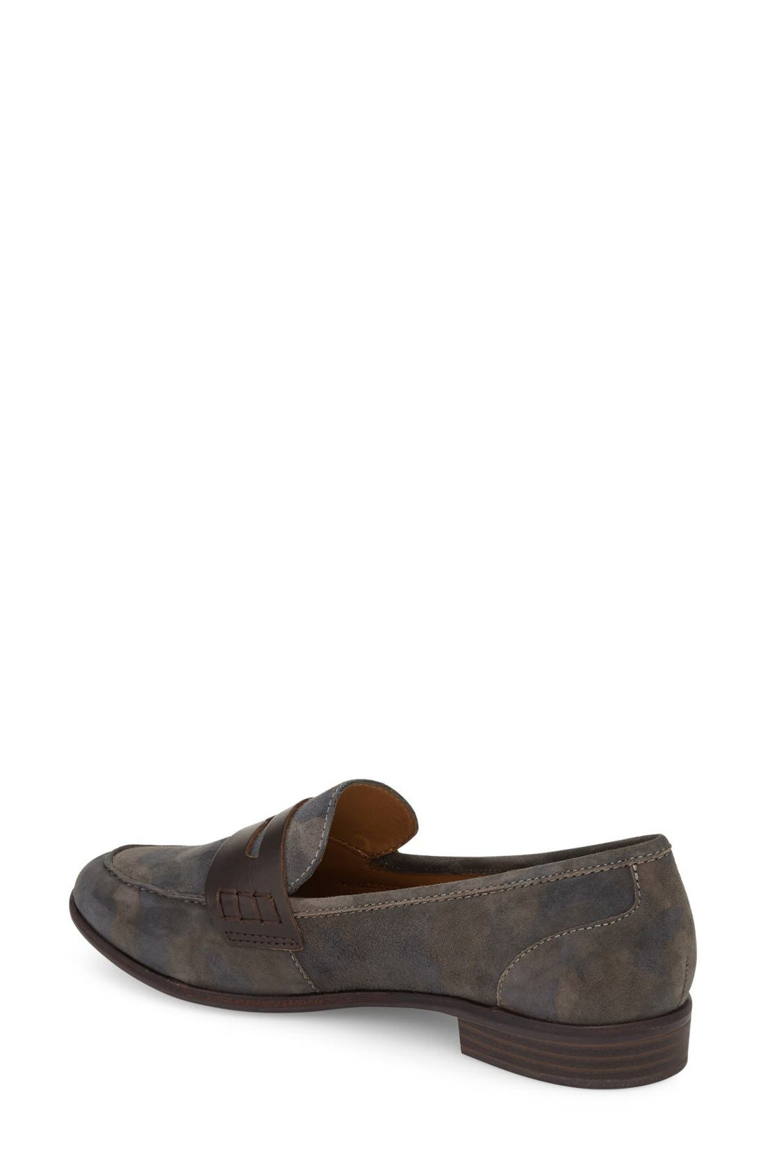 Emilia Penny Loafer,                             Alternate thumbnail 2, color,                             Camo/ Espresso Suede