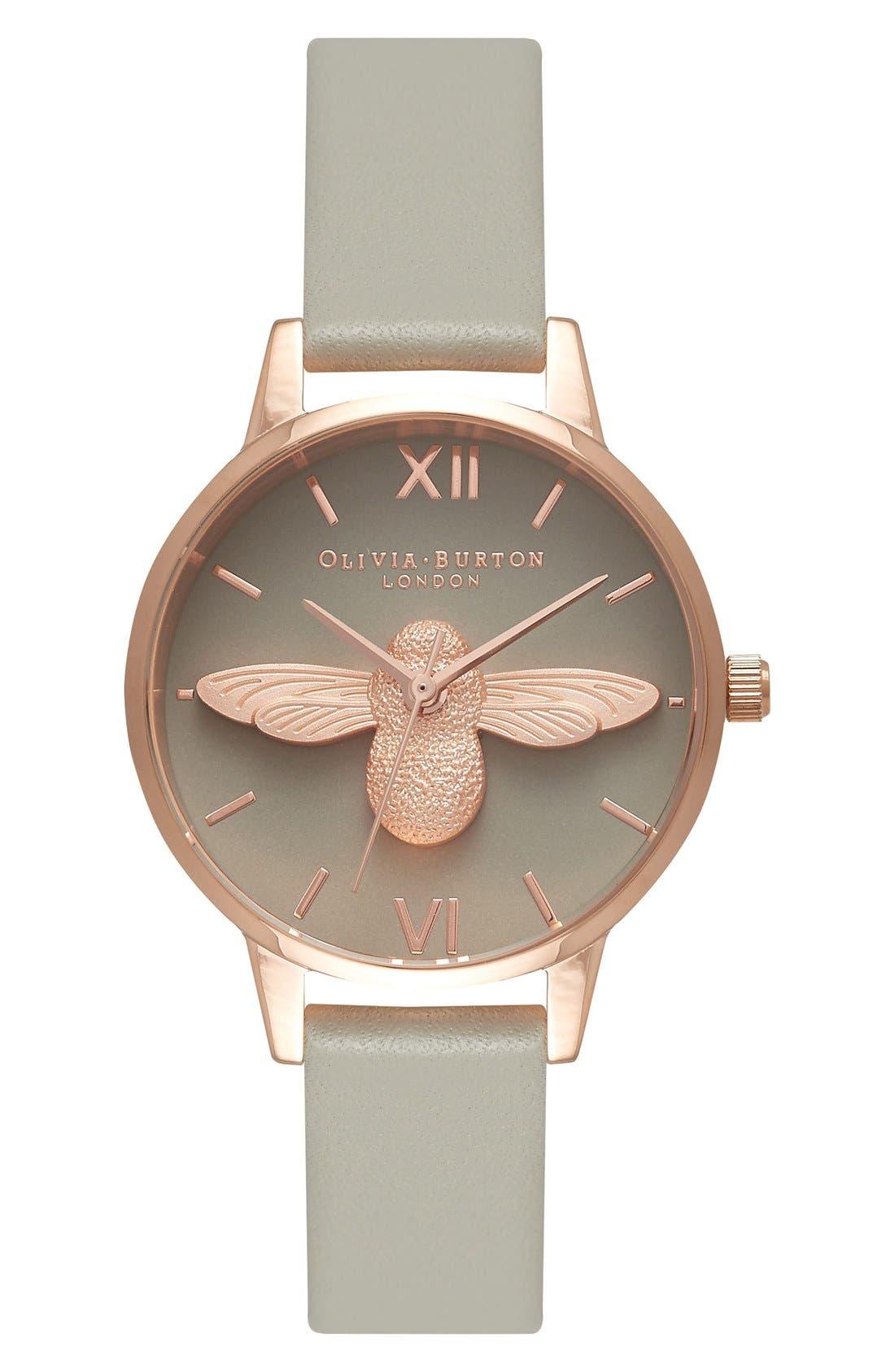 Main Image - Olivia Burton Animal Motif Leather Strap Watch, 30mm