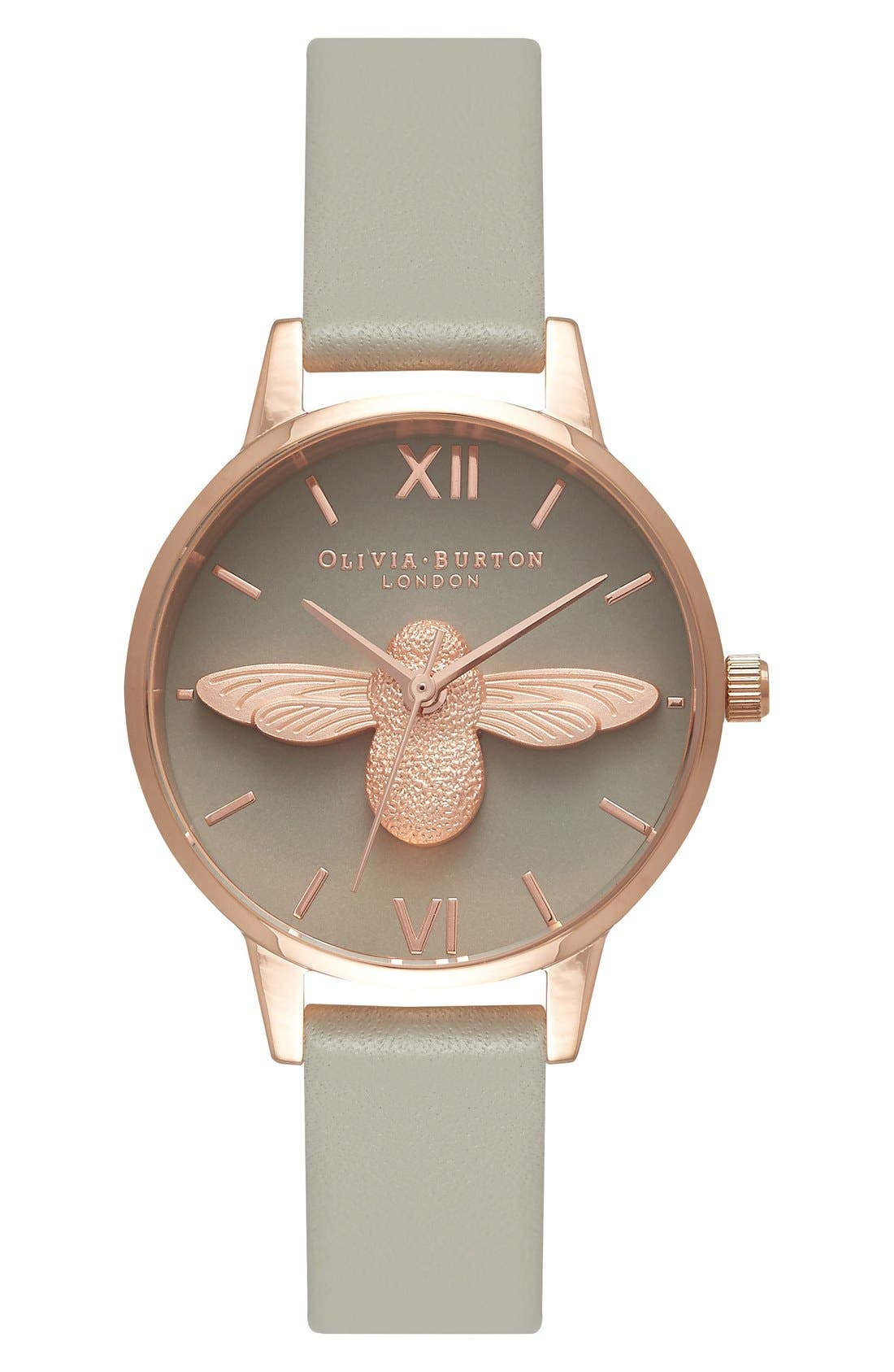 Animal Motif Leather Strap Watch, 30mm,                         Main,                         color, Moulded Bee Grey/ Rose Gold
