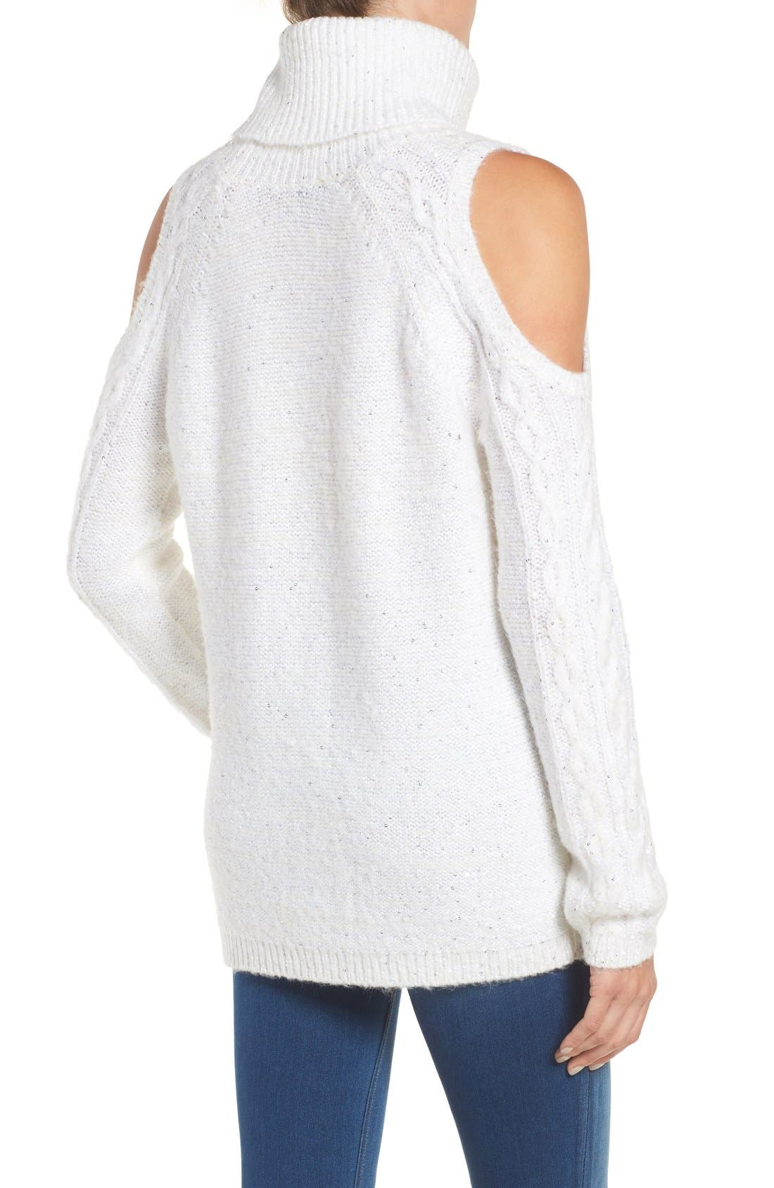Alternate Image 2  - Chelsea28 Sequin Cold Shoulder Sweater