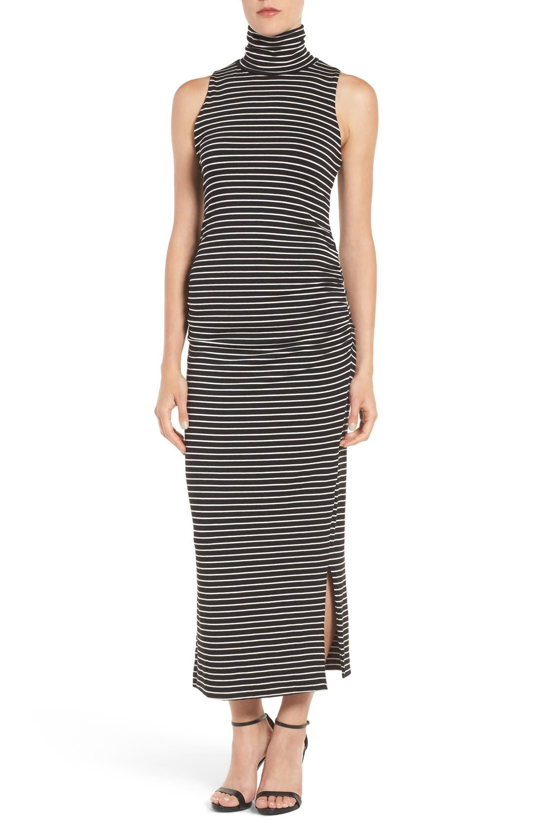 Turtleneck Maxi Dress,                             Main thumbnail 1, color,                             Amsterdam Stripe
