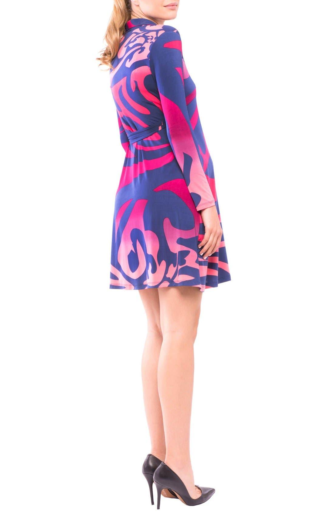 Lorraine Wrap Maternity Dress,                             Alternate thumbnail 5, color,                             Pink/ Blue Print