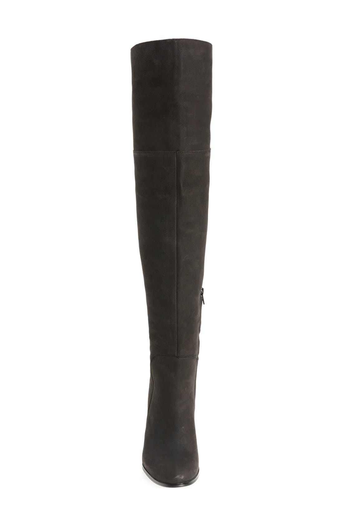 Over the Knee Jack Boot,                             Alternate thumbnail 3, color,                             Black Nubuck Leather