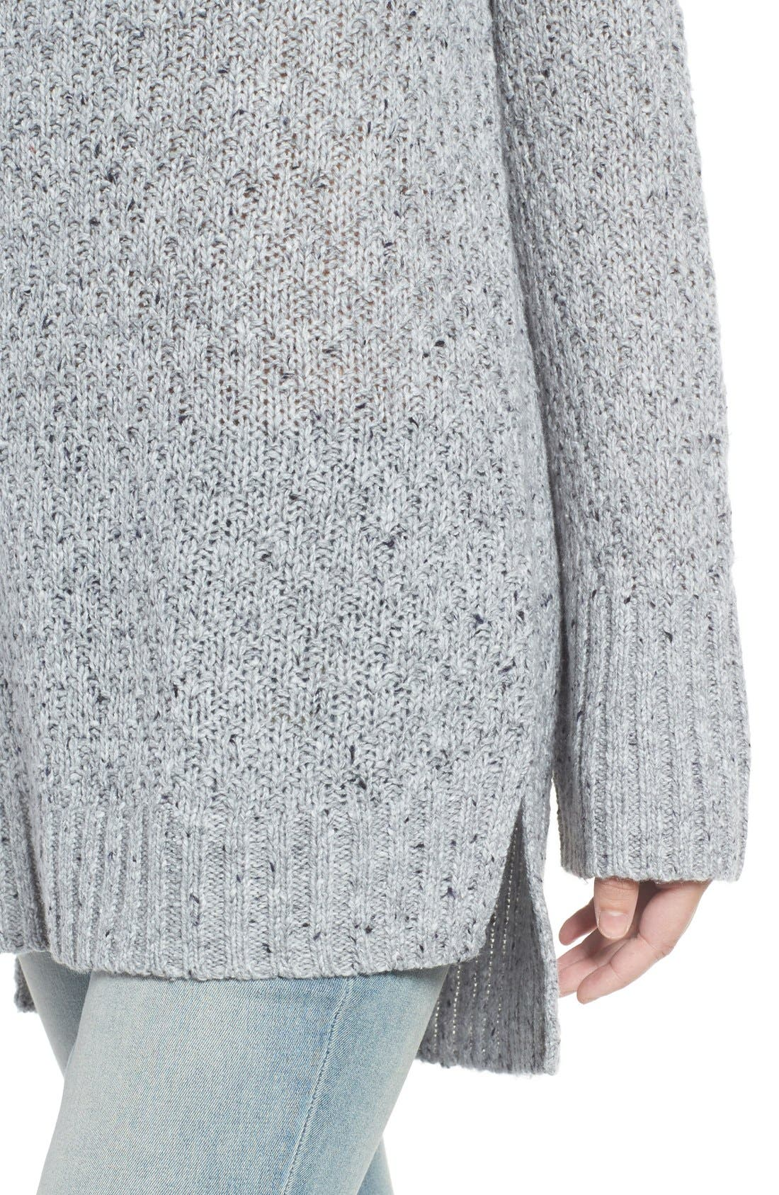 Slouchy Tunic Sweater,                             Alternate thumbnail 4, color,                             Grey Heather