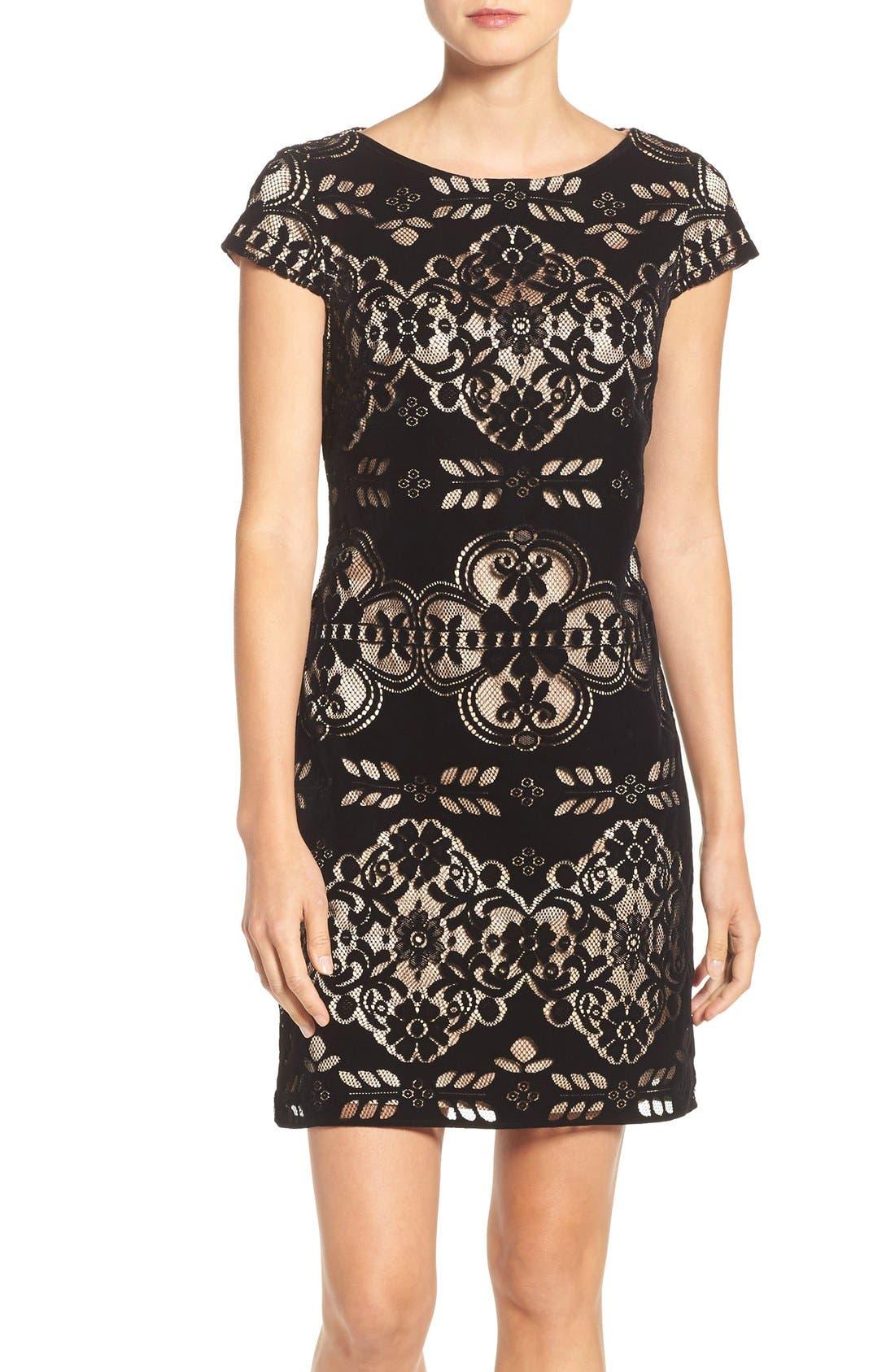 Alternate Image 1 Selected - Eliza J Burnout Velvet Sheath Dress (Regular & Petite)
