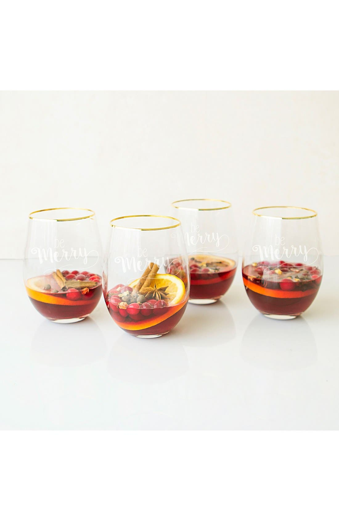 Be Merry Set of 4 Stemless Wine Glasses,                         Main,                         color, Gold