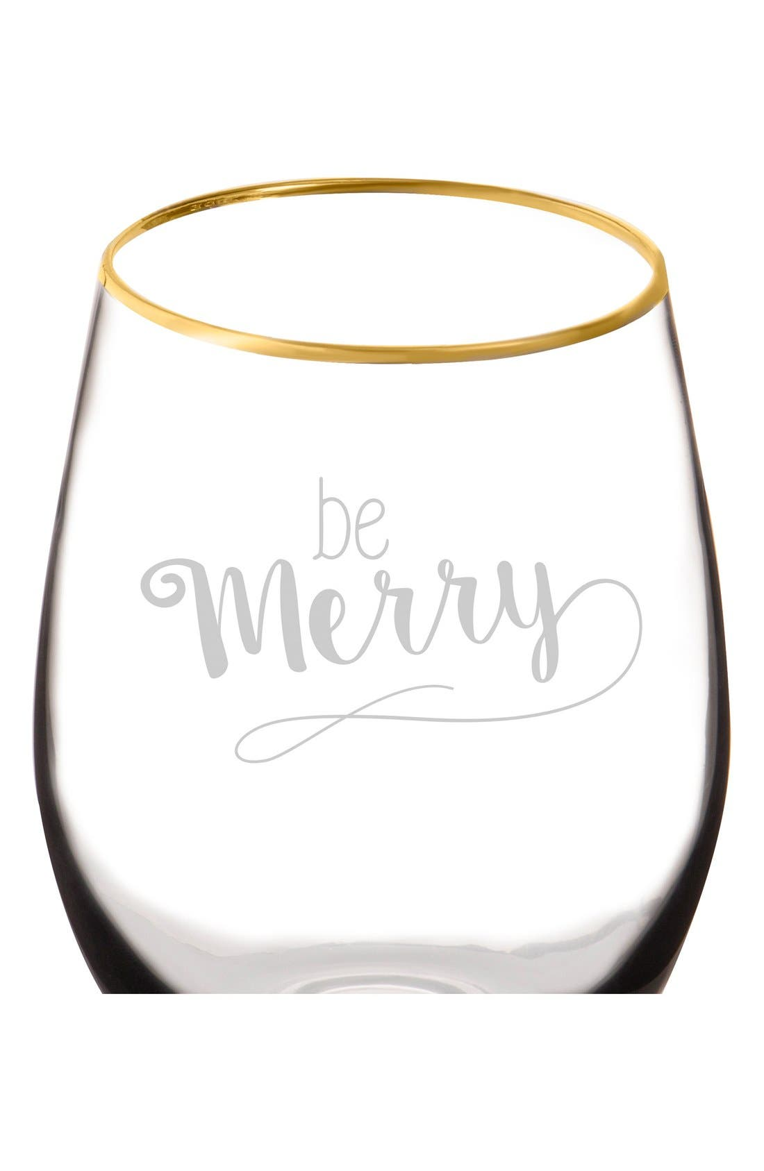 Be Merry Set of 4 Stemless Wine Glasses,                             Alternate thumbnail 2, color,                             Gold
