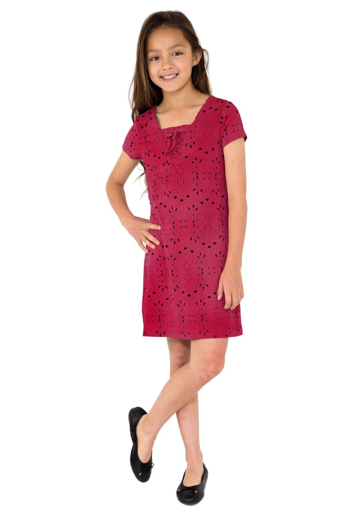 Laser Cut Dress,                         Main,                         color, Cranberry