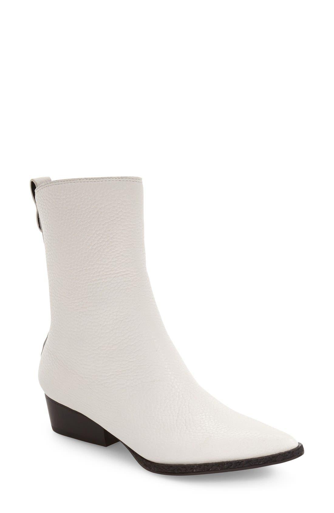 Kiki Pointy Toe Bootie,                             Main thumbnail 1, color,                             White Leather