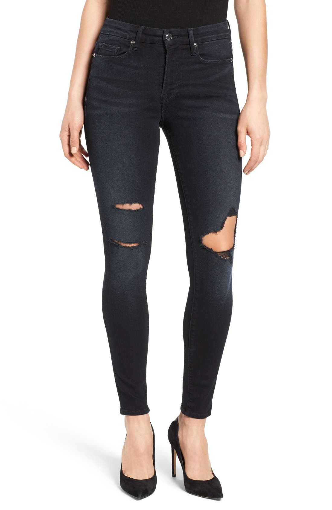 Good American Good Legs High Rise Ripped Skinny Jeans (Blue 001) (Extended Sizes)