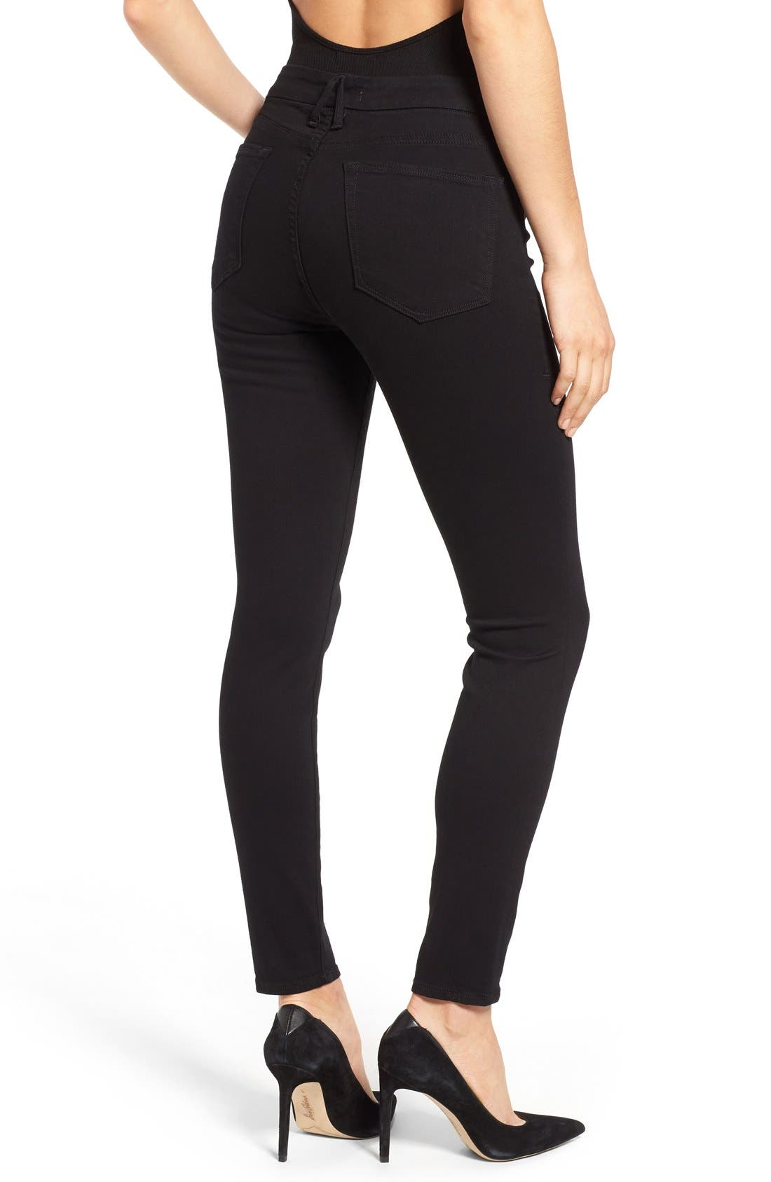 Alternate Image 2  - Good American Good Legs High Rise Skinny Jeans (Black 001)
