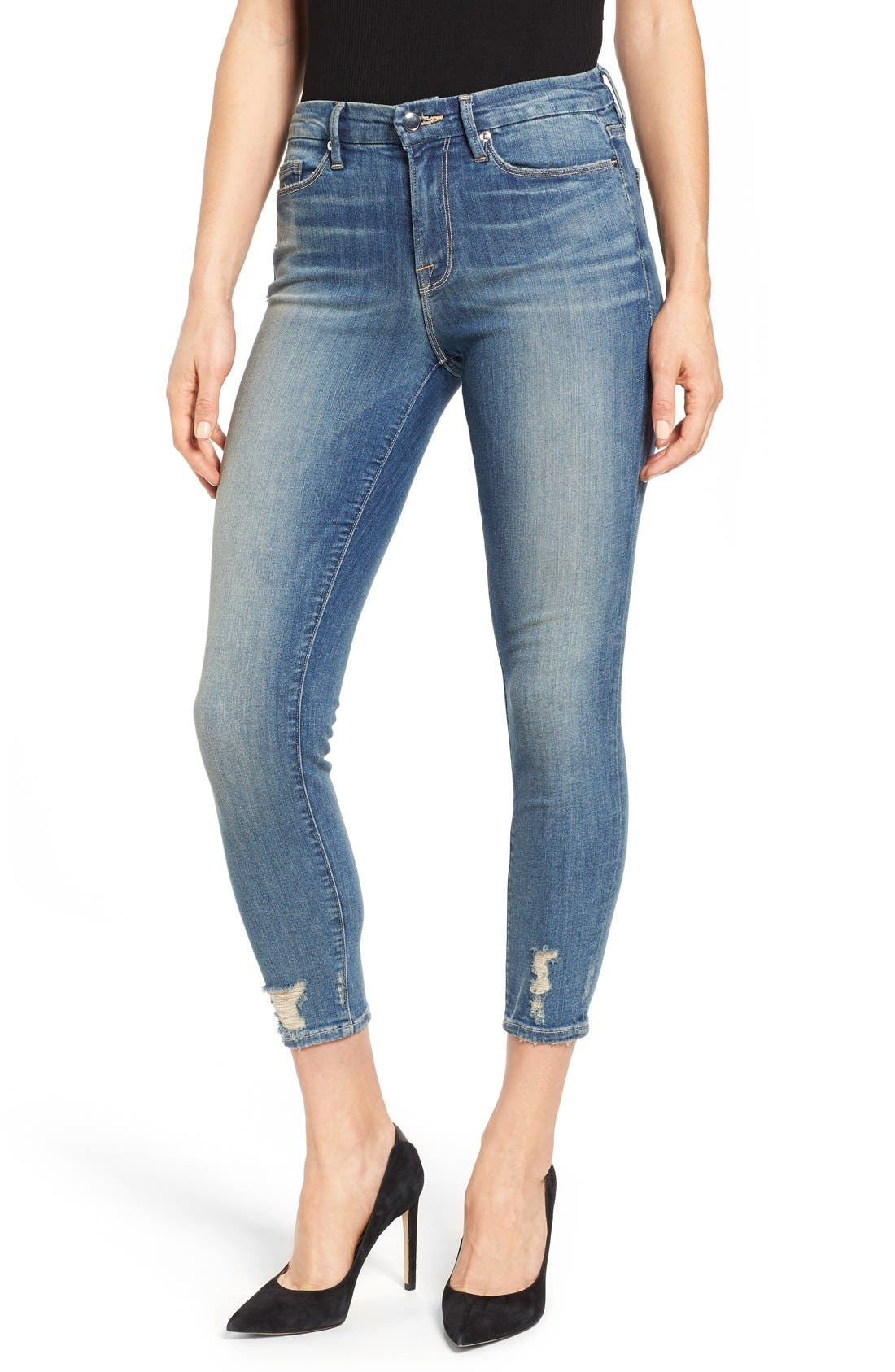 Good American Good Legs High Rise Crop Skinny Jeans (Blue 010) (Extended Sizes)