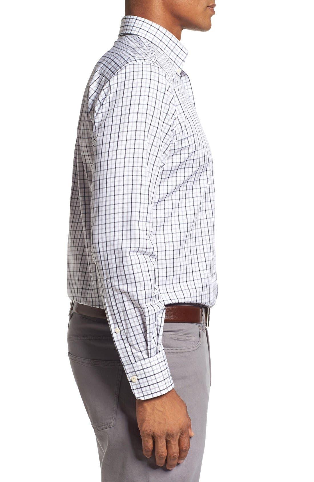 Regular Fit Tattersall Plaid Sport Shirt,                             Alternate thumbnail 3, color,                             Black