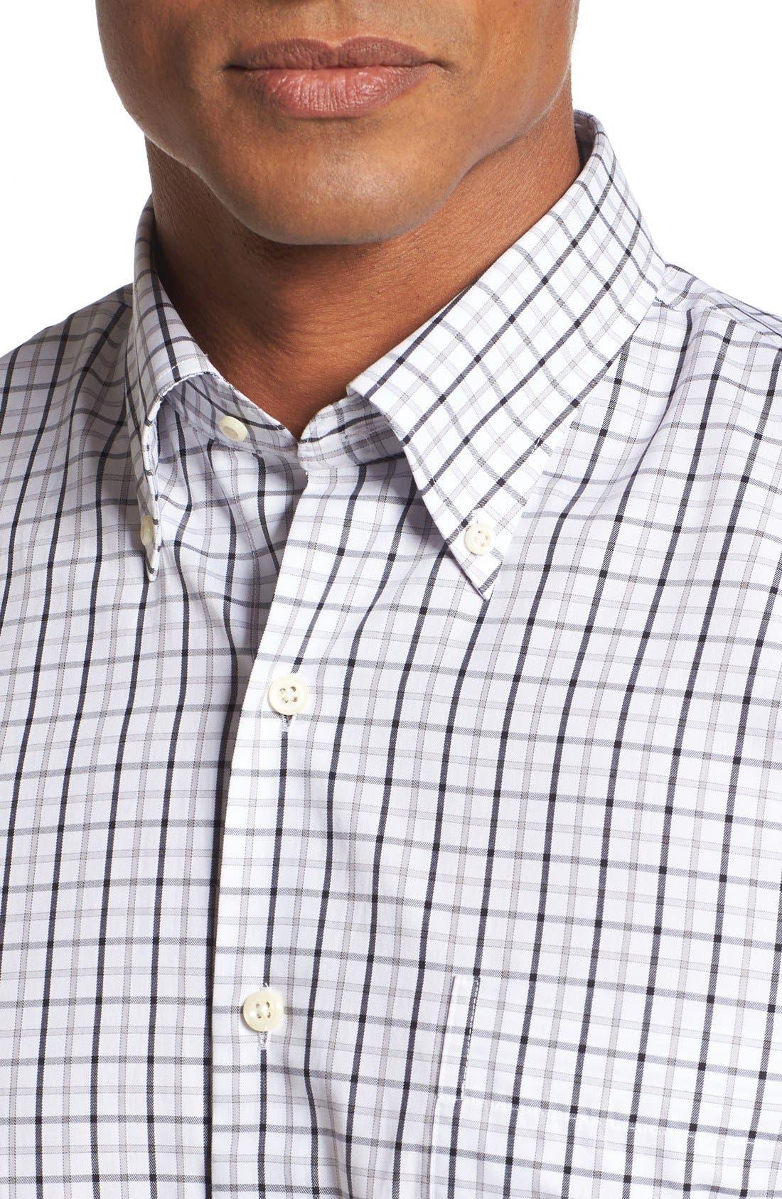Regular Fit Tattersall Plaid Sport Shirt,                             Alternate thumbnail 4, color,                             Black