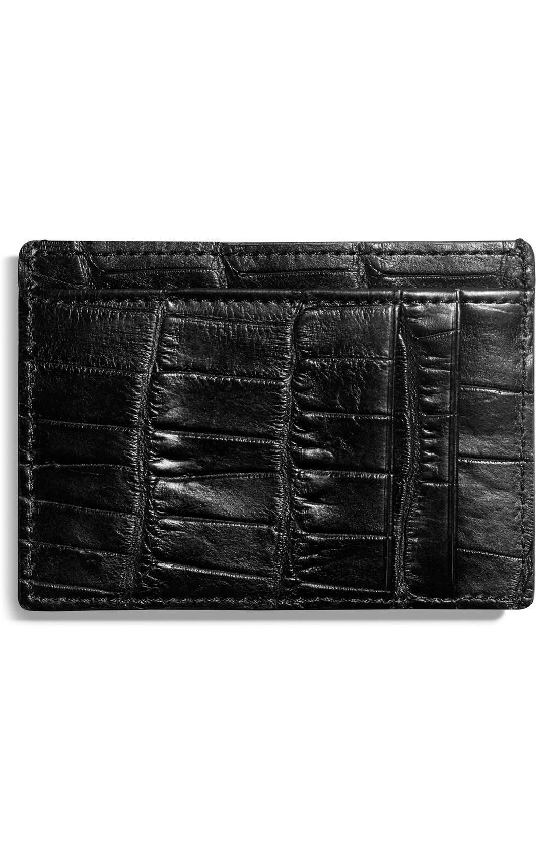 Alligator Leather Card Case,                             Main thumbnail 1, color,                             Black