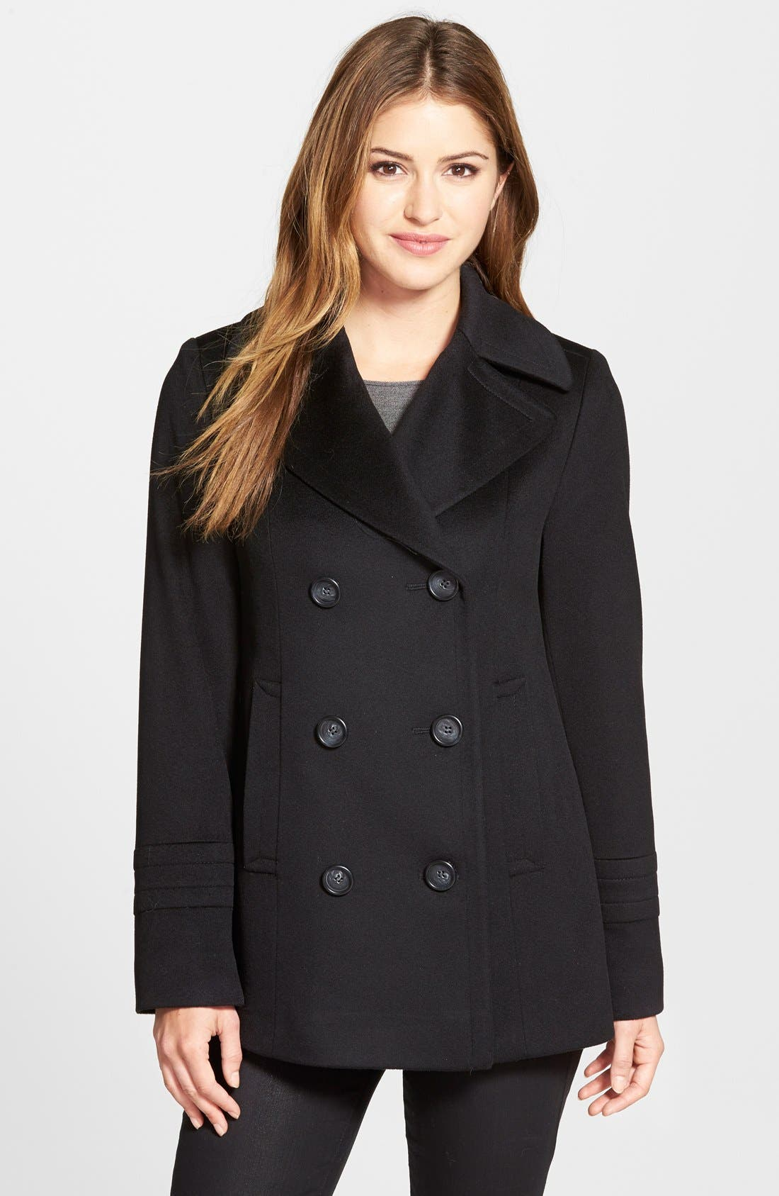Loro Piana Wool Peacoat,                         Main,                         color, Black