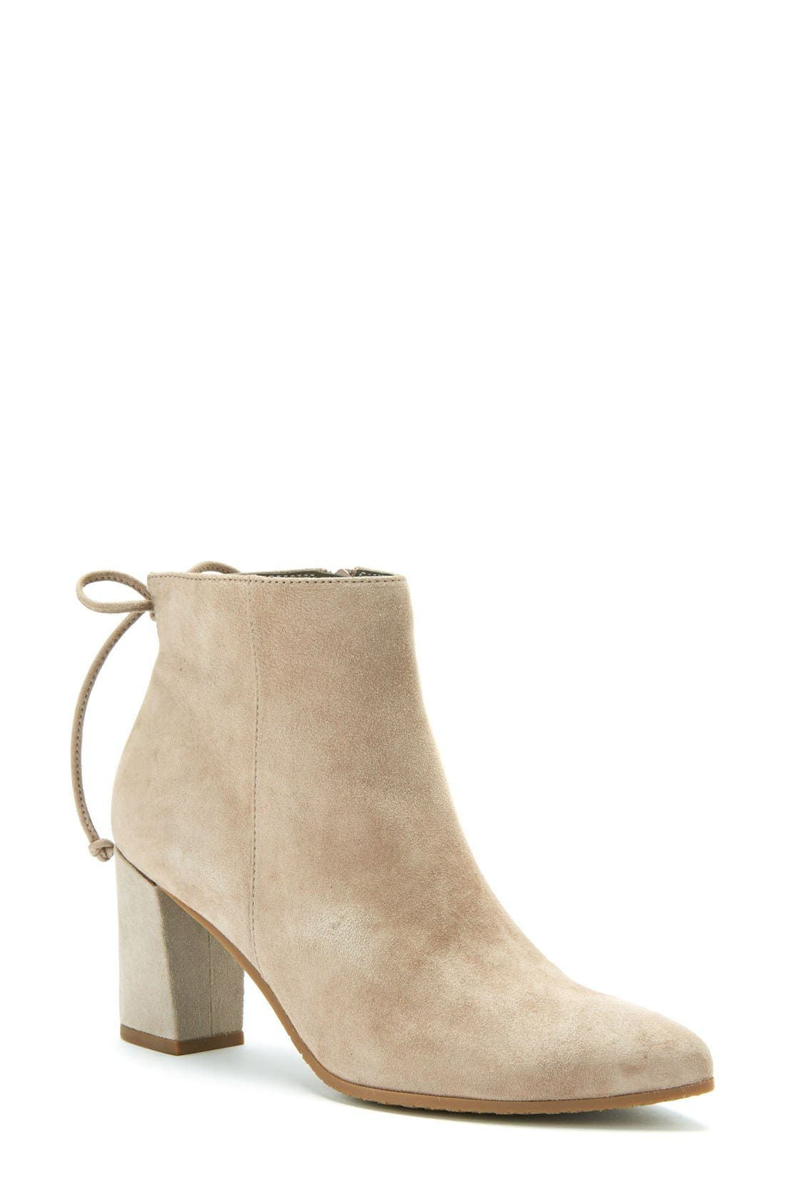 Tiana Waterproof Pointy Toe Bootie,                             Main thumbnail 1, color,                             Taupe Suede