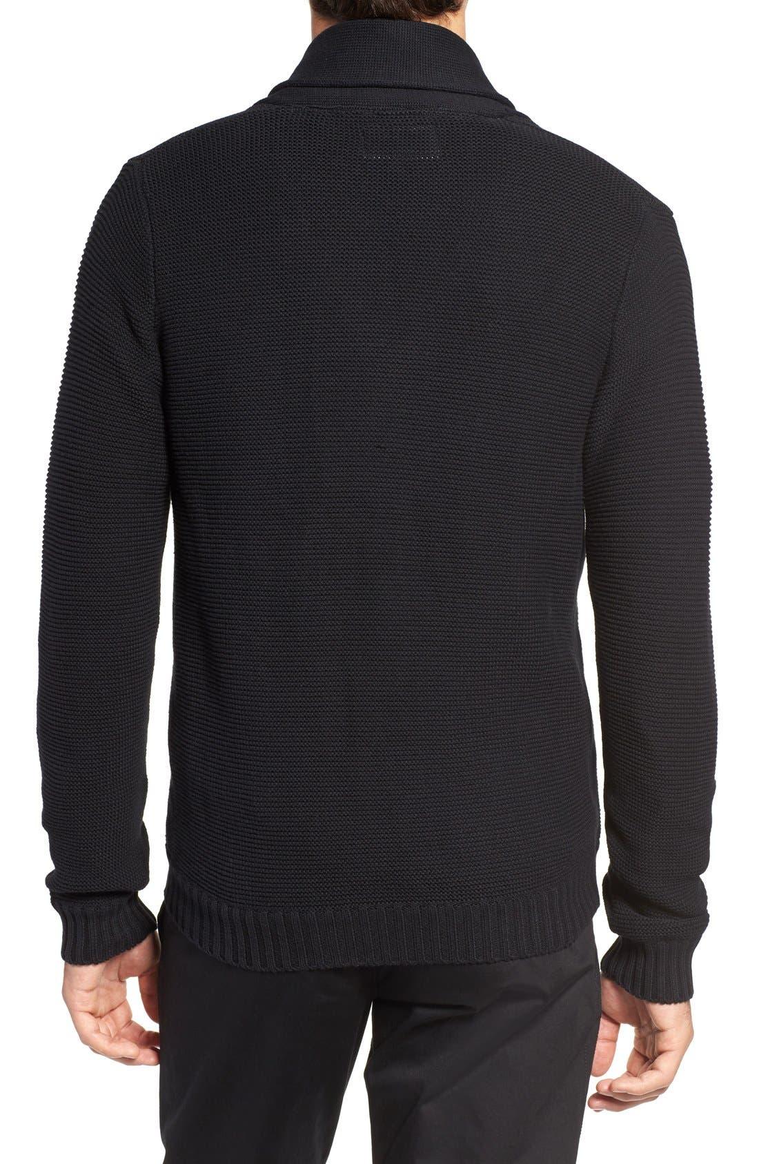 Cypress Cotton Shawl Collar Cardigan,                             Alternate thumbnail 2, color,                             Black