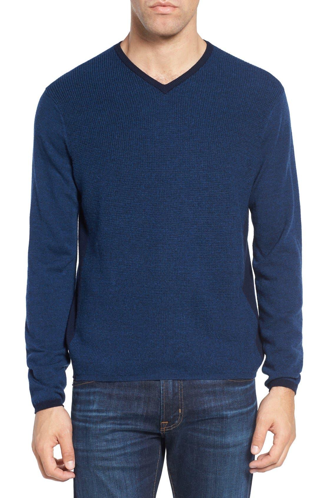 V-Neck Colorblock Merino Wool Pullover,                         Main,                         color, Blue