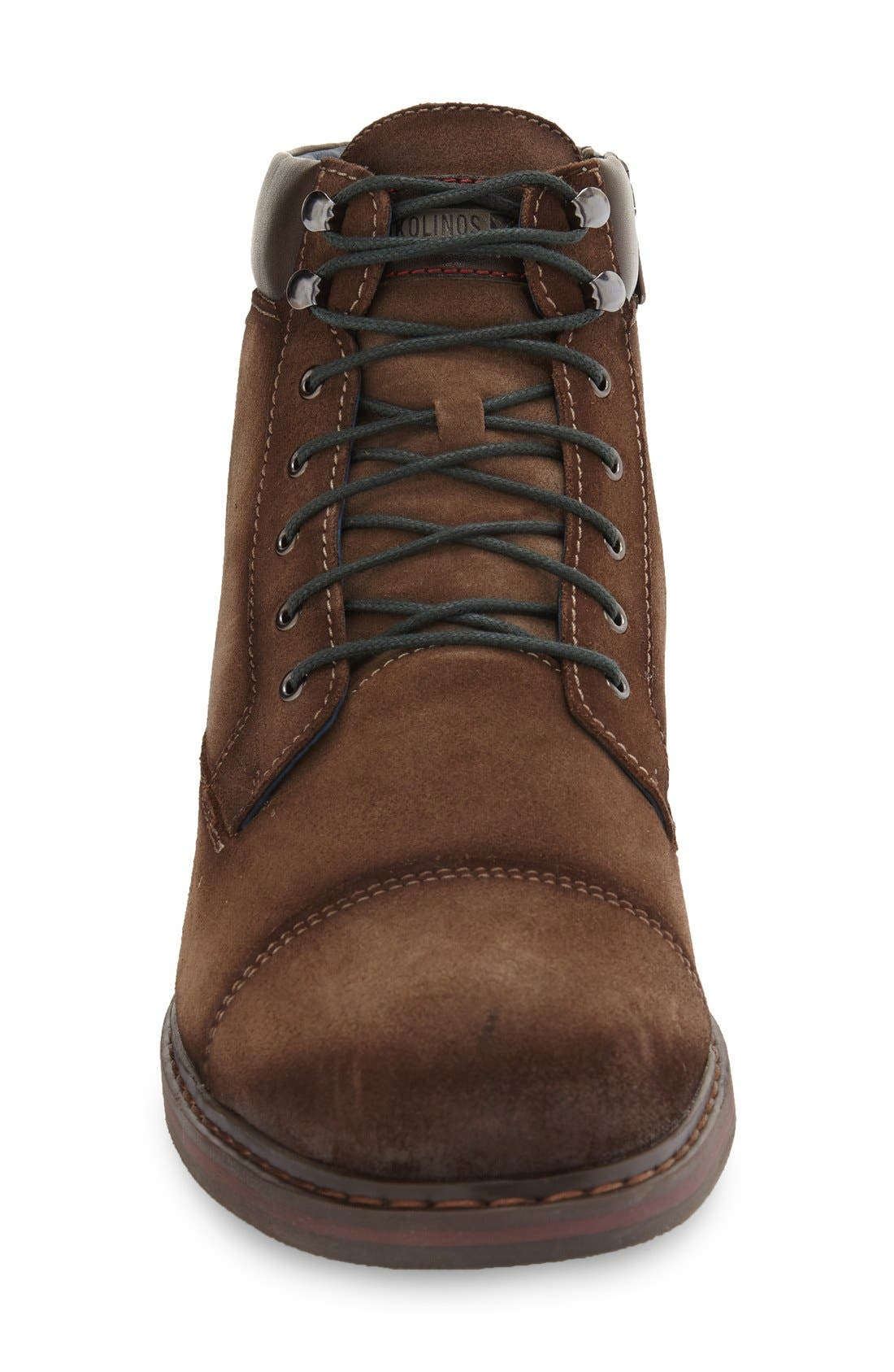'Cacers' Lace-Up Zip Boot,                             Alternate thumbnail 3, color,                             Brown Leather