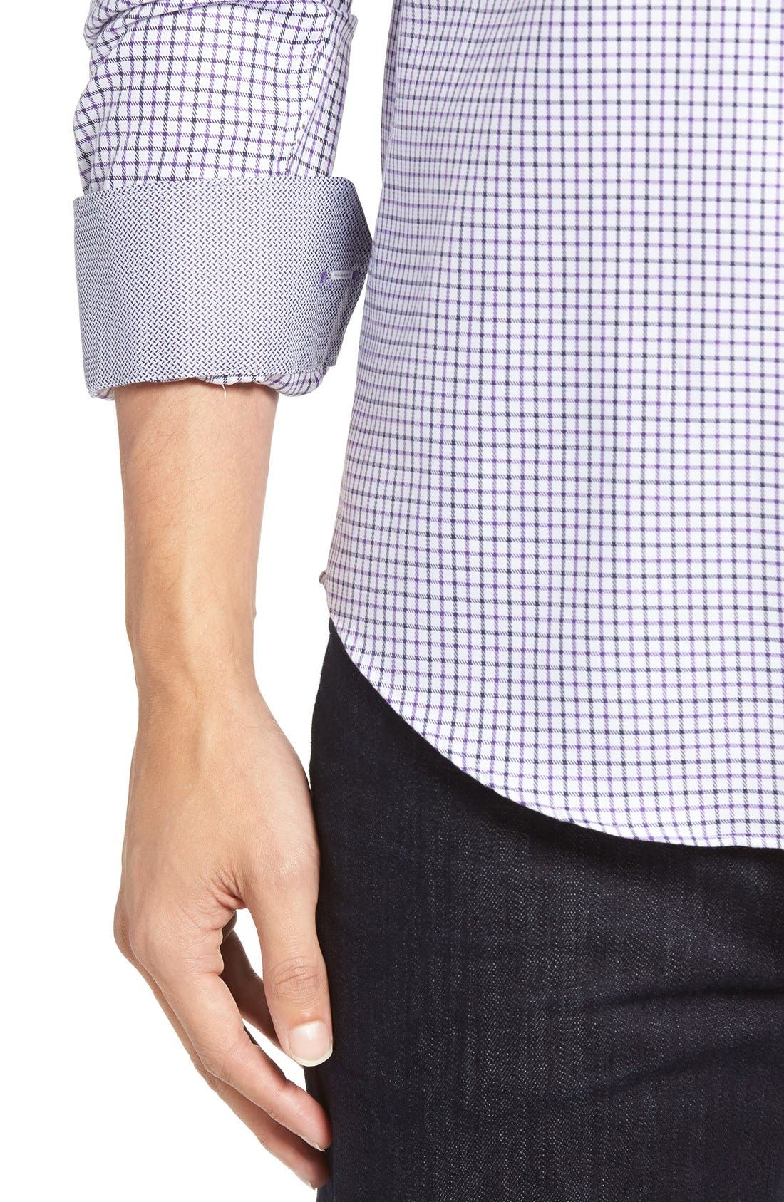 Shaped Fit Tattersall Sport Shirt,                             Alternate thumbnail 4, color,                             Orchid