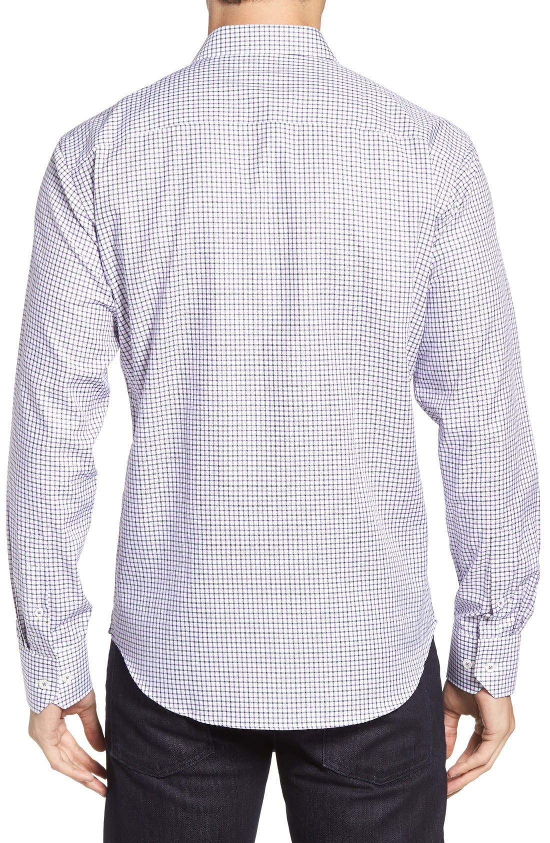 Shaped Fit Tattersall Sport Shirt,                             Alternate thumbnail 2, color,                             Orchid