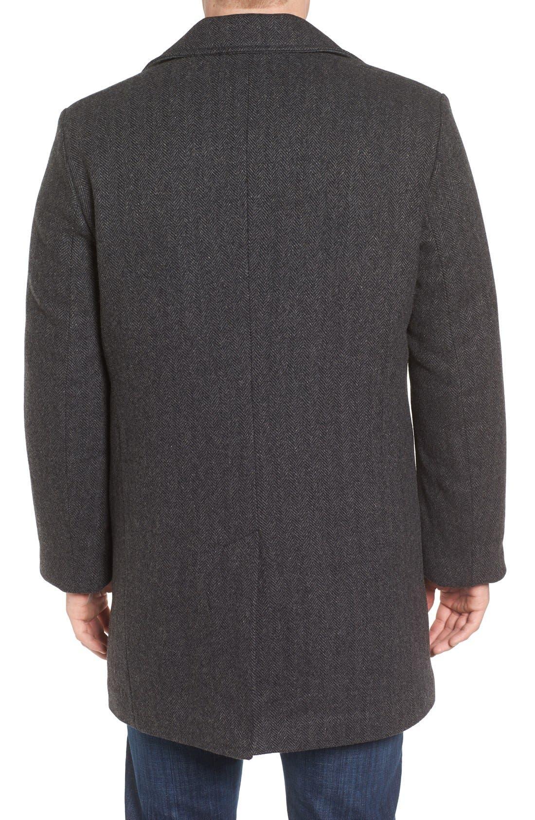 Alternate Image 2  - Pendleton Manhattan Herringbone Wool Blend Reefer Coat