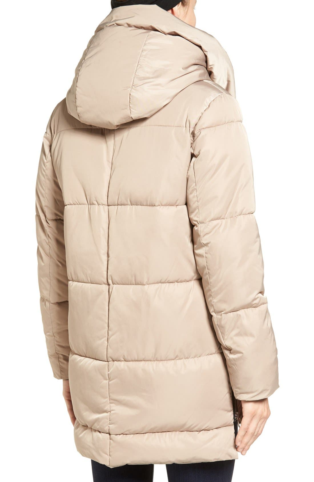 Hooded Puffer Jacket with Faux Shearling Trim,                             Alternate thumbnail 2, color,                             Sand