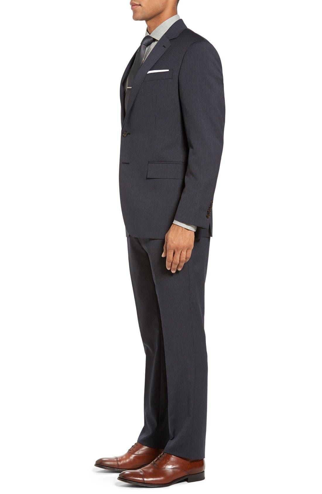 Trim Fit Stripe Wool Suit,                             Alternate thumbnail 3, color,                             Dark Grey
