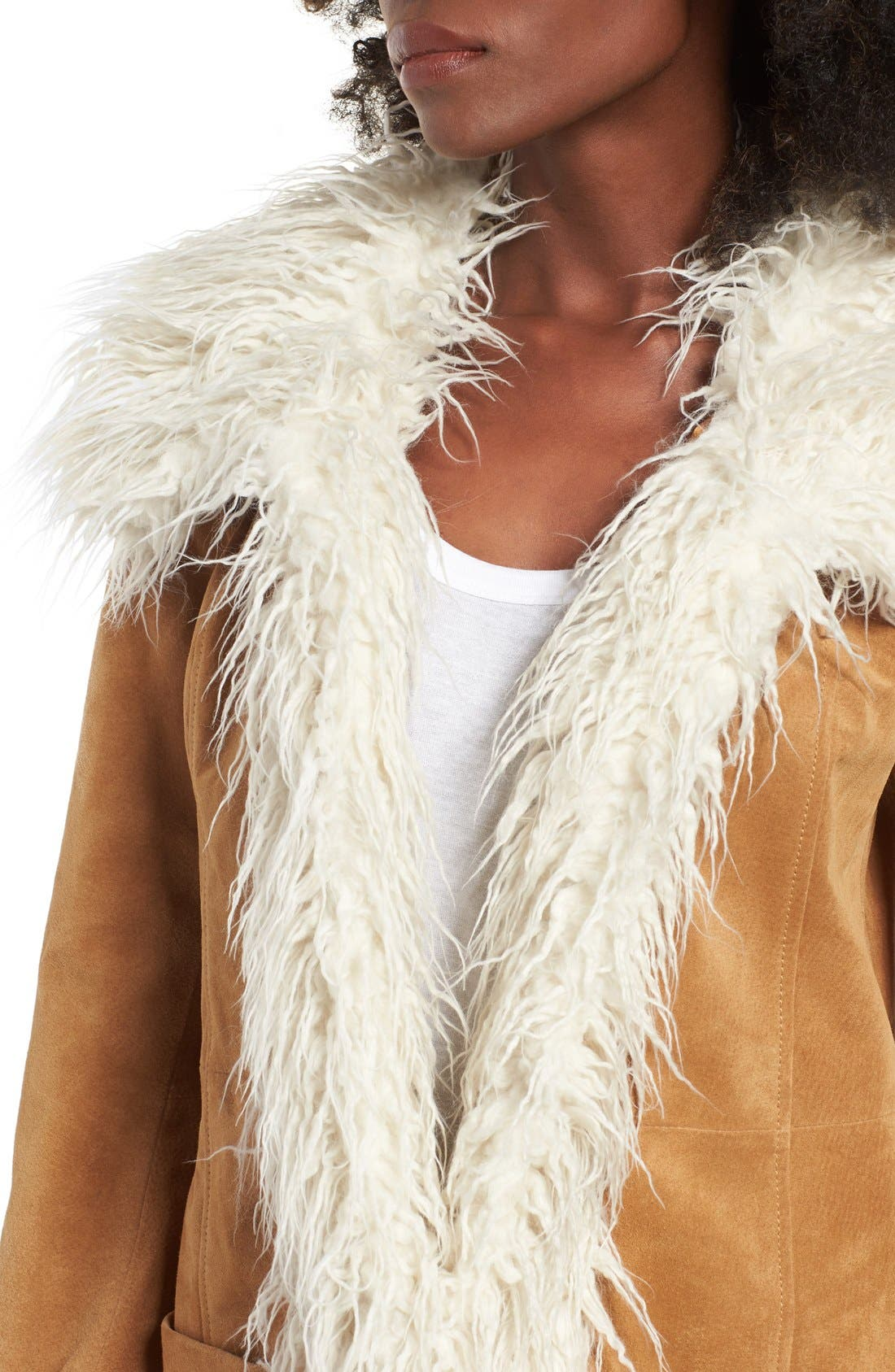Alternate Image 4  - Sun & Shadow Suede Jacket with Faux Shearling Trim