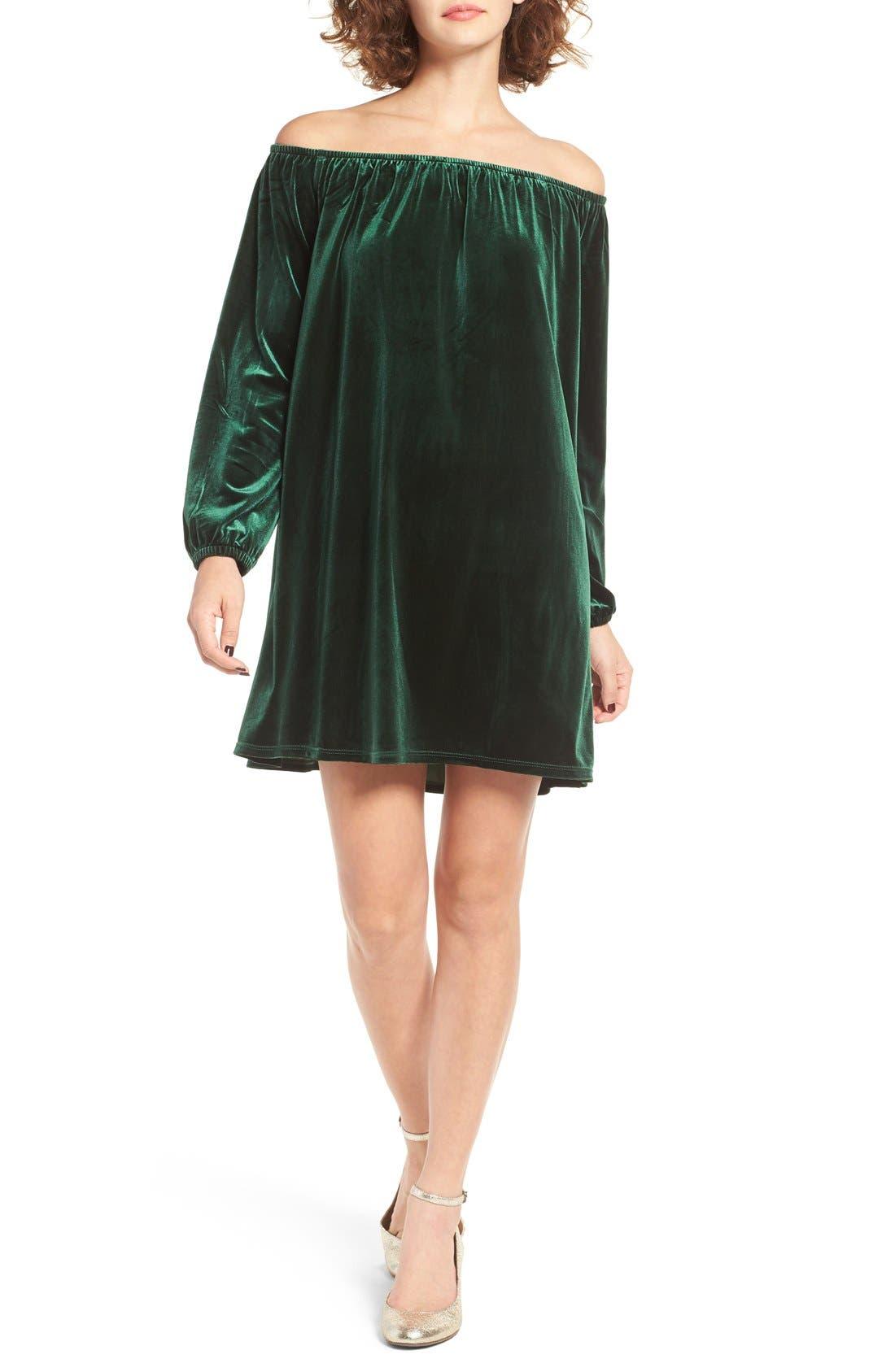 Alternate Image 1 Selected - One Clothing Off the Shoulder Velvet Swing Dress