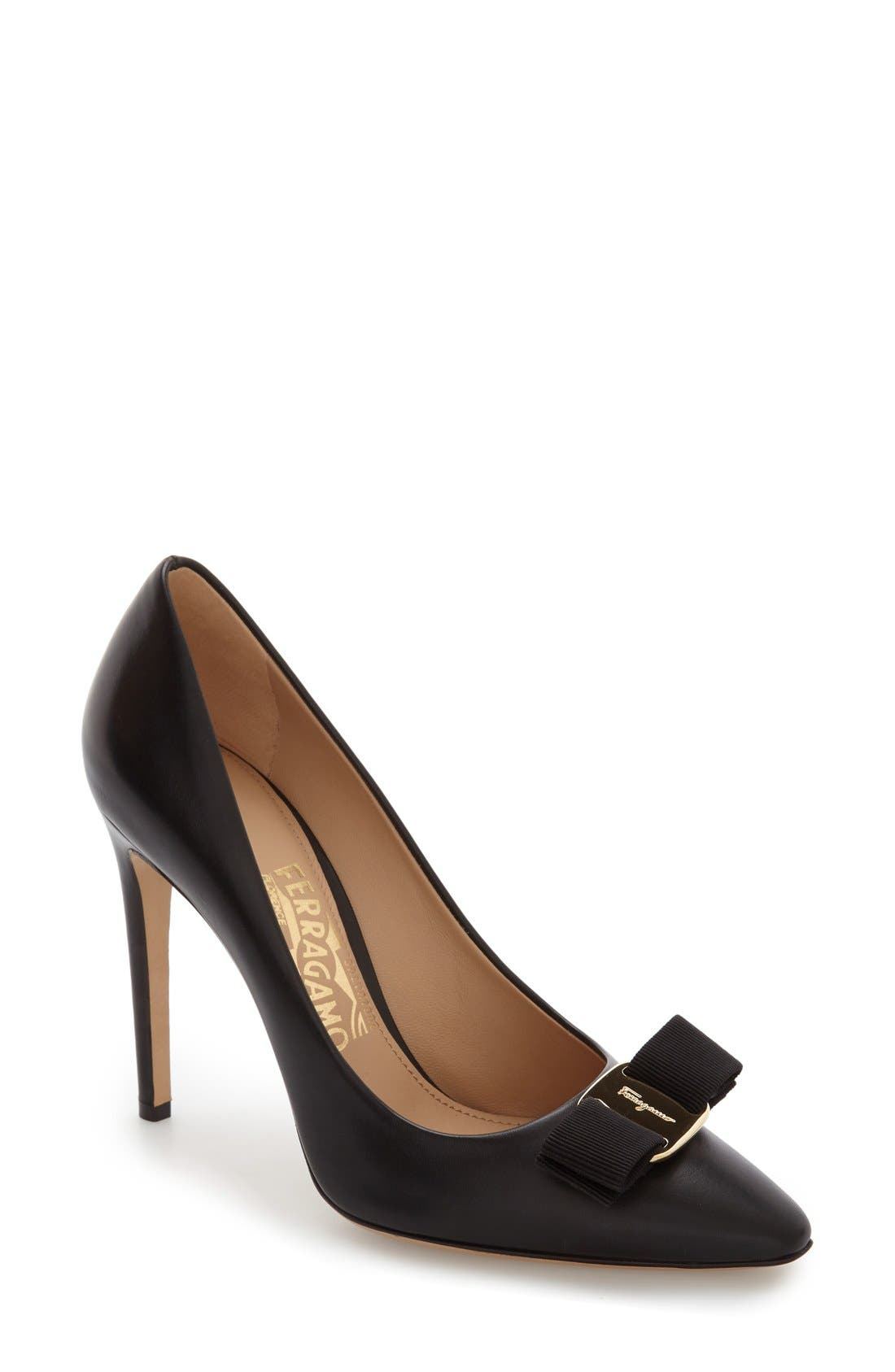Salvatore Ferragamo Emy Pointed Toe Bow Pump (Women)