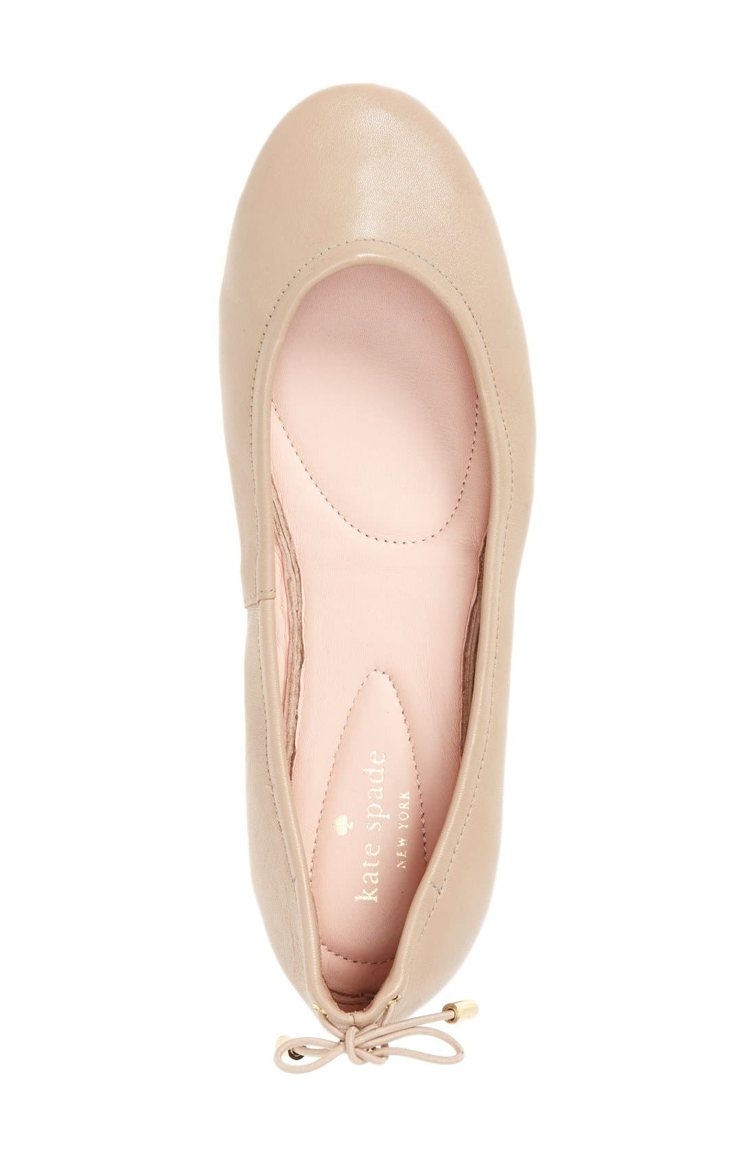 globe foldable ballet flat,                             Alternate thumbnail 3, color,                             Powder