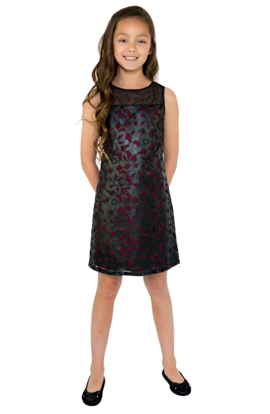 Alternate Image 1 Selected - BLUSH by Us Angels Faux Leather Sheath Dress (Big Girls)