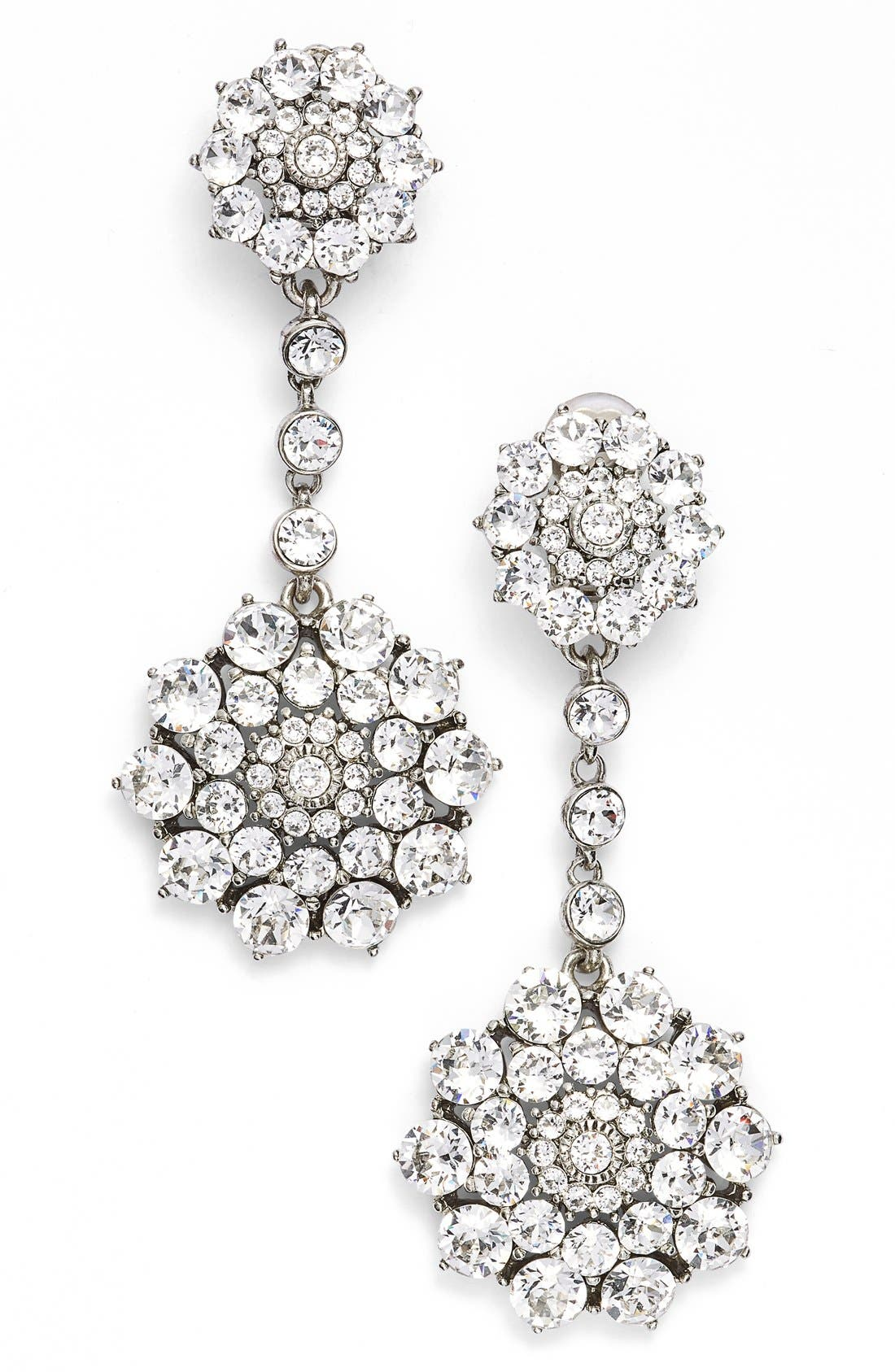 OSCAR DE LA RENTA Classic Jeweled Swarovski Crystal Drop Earrings