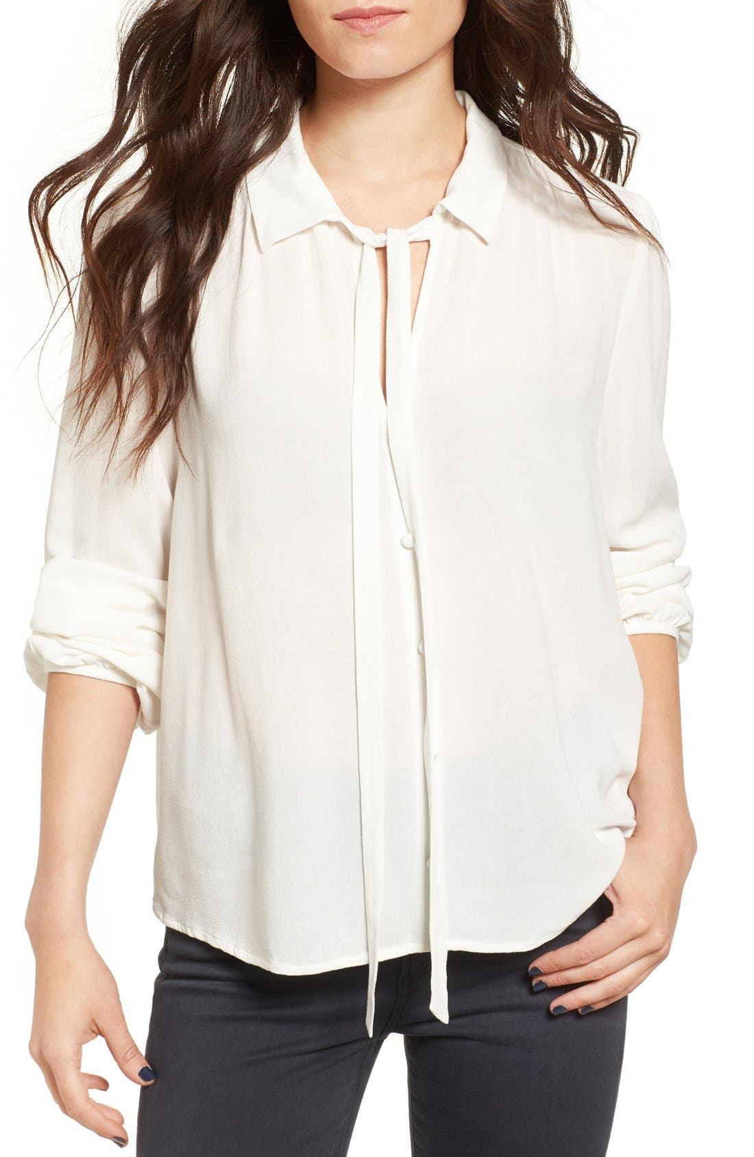 Tie Neck Blouse,                         Main,                         color, Ivory