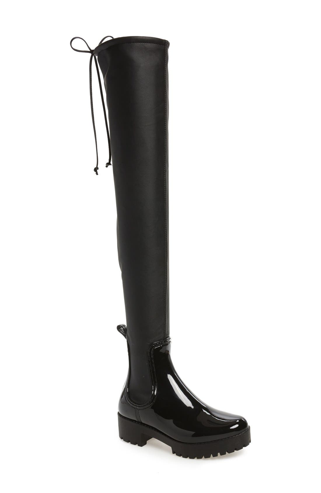 Cloudy Over the Knee Rain Boot,                             Main thumbnail 1, color,                             Black Shiny Black