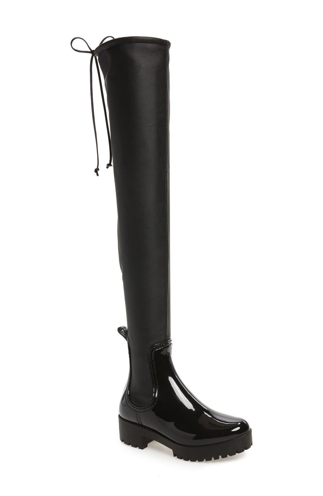 Cloudy Over the Knee Rain Boot,                         Main,                         color, Black Shiny Black