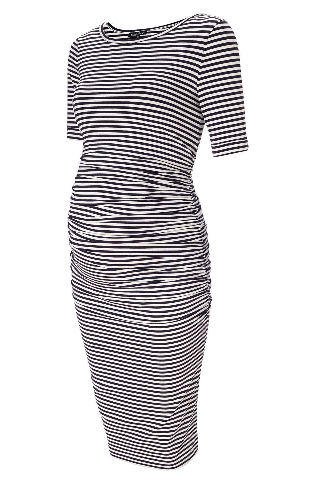 Arlington Stripe Maternity Dress,                         Main,                         color, Navy/ Off White