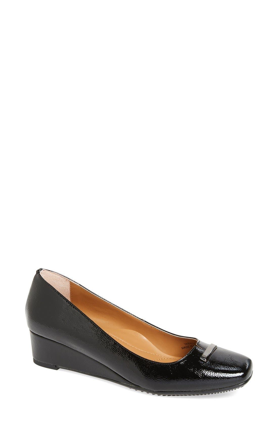Yarall Square Toe Wedge,                         Main,                         color, Black Faux Patent