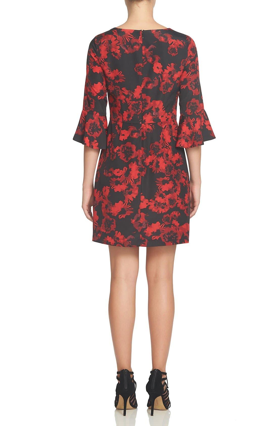 Ava Print Sheath Dress,                             Alternate thumbnail 2, color,                             Rich Black
